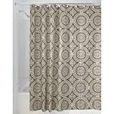 InterDesign Medallion Shower Curtain, 72 by 72-Inch, White/Taupe