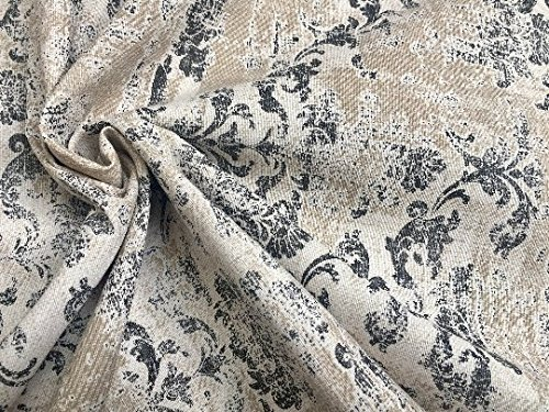 LushFabric Antique Vintage Damask Print Fabric Baroque Material for Curtains Upholstery Dressmaking - 55'' wide - Grey & Cream Canvas (sold by the Yard)