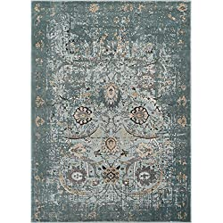 "Well Woven Elle Blue Persian Vintage Shiraz 8x11 (7'10'' x 10'6"") Area Rug Mint Blue Modern Distressed Oriental Carpet"