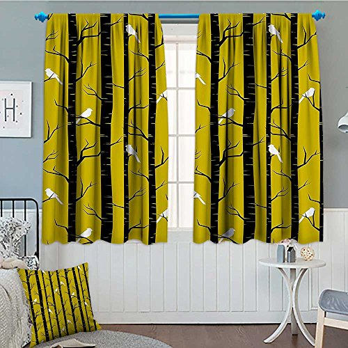 SeptSonne-Home Yellow Decor Thermal Insulating Blackout Curtain Modern Artdeco Style Design Forest with Birds and Trees Artwork Patterned Drape for Glass Door 52