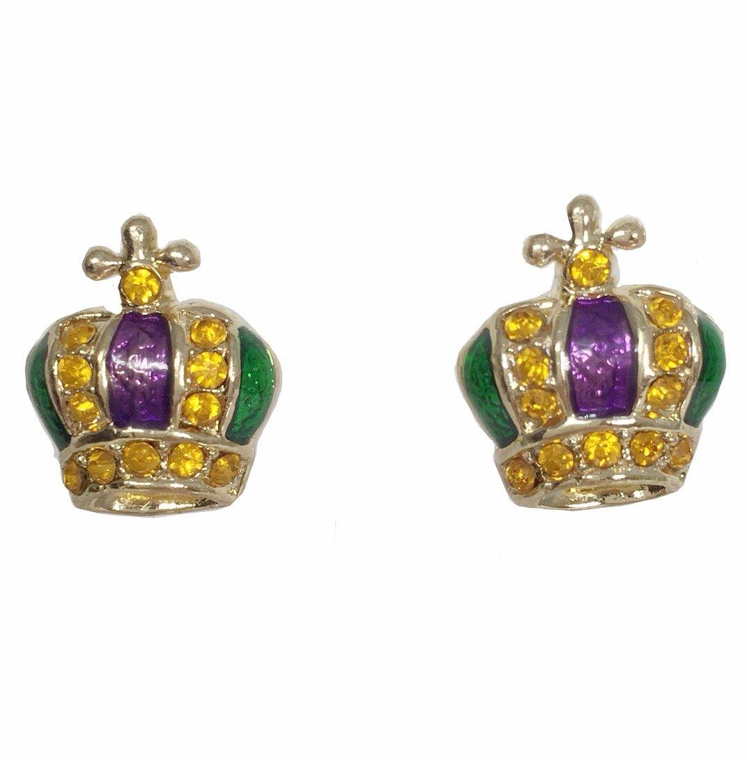 Crown with Rhinstones Stud Earrings Perfect for Mardi Gras (Mardi Gras post)