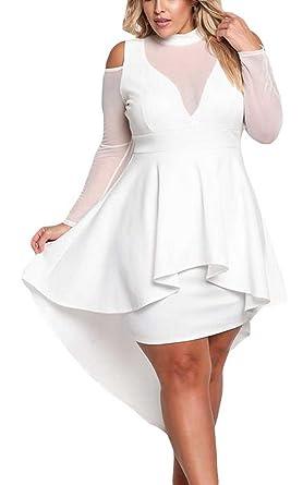 Robe peplum blanche grande taille