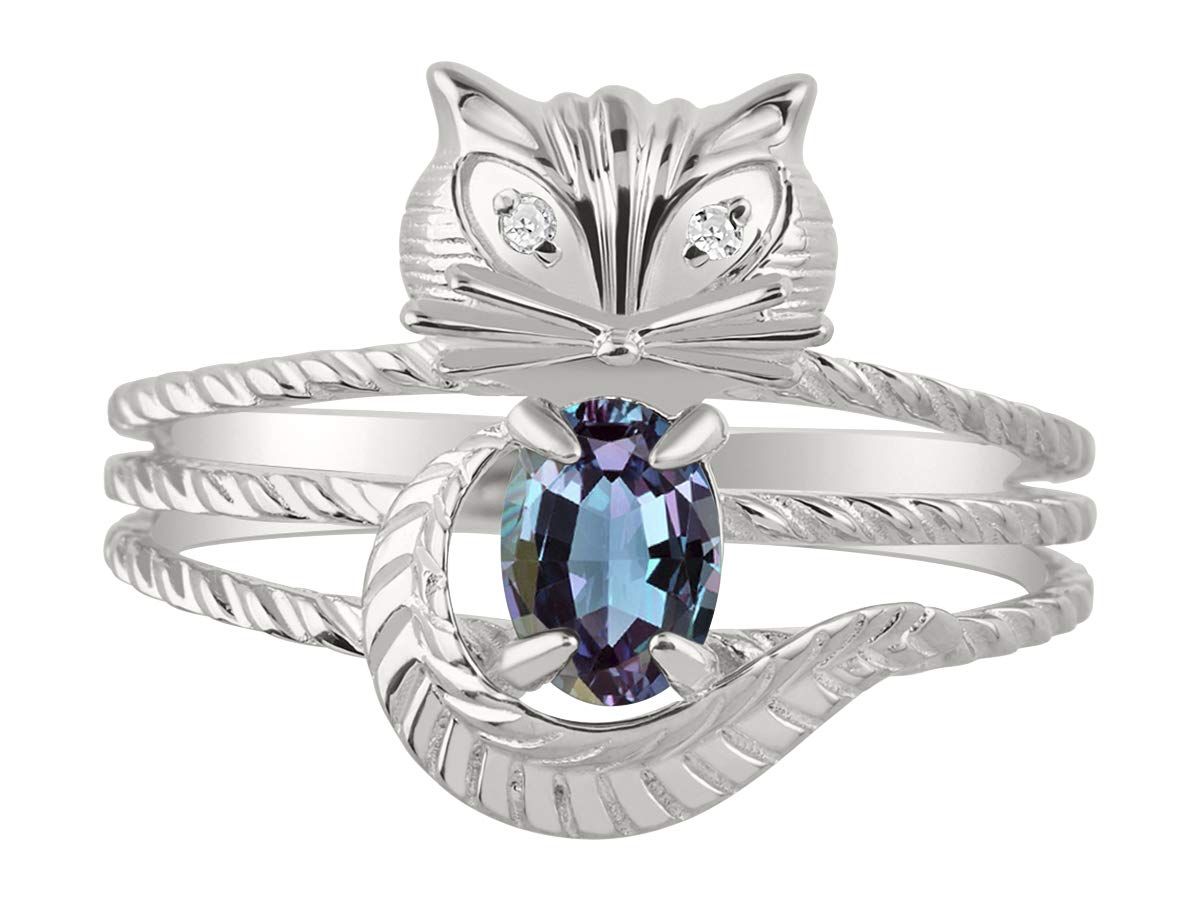 RYLOS Simply Fun CAT simulated Alexandrite/Mystic Topaz & Diamond Ring - June Birthstone. Great Ring for Pinky, Middle or Pointer Finger.