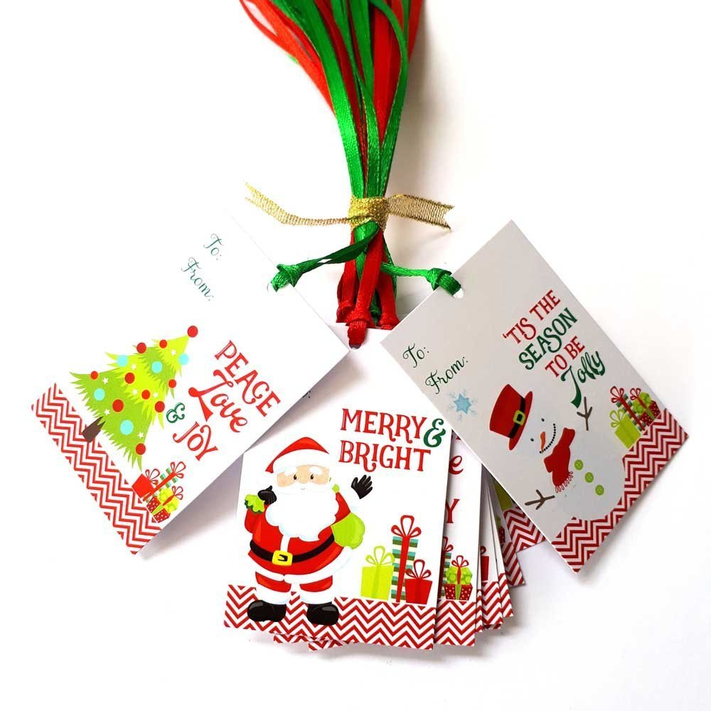Christmas Gift Tags - Santa Claus, Jolly Snowman and Christmas Tree Holiday Tags - Set of 24 by Adore By Nat