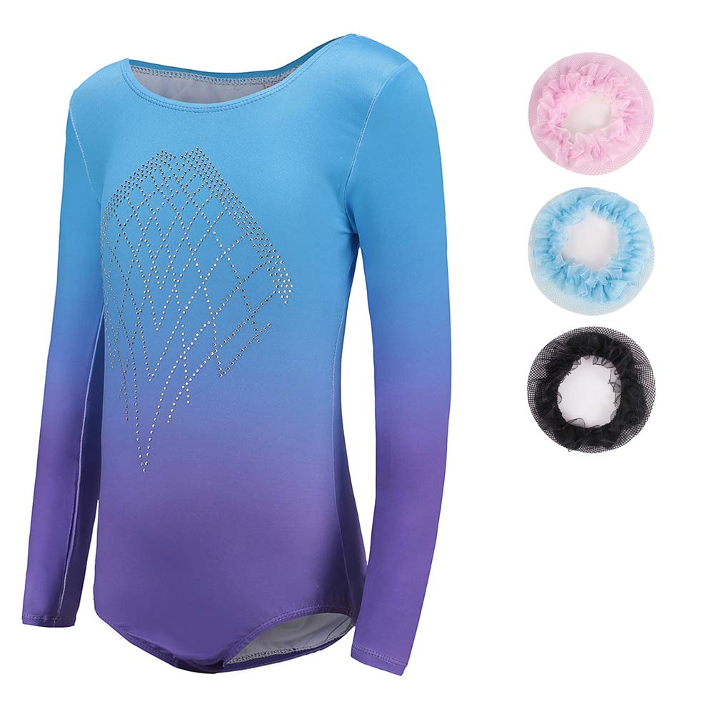 Sinoeem Leotards for Girls Gymnastics Long Sleeve Dancing Ballet Gymnastics Leotard for Girls 7-8 Years Gradient Blue+Purple Color Diamond Sparkle Design by Sinoeem