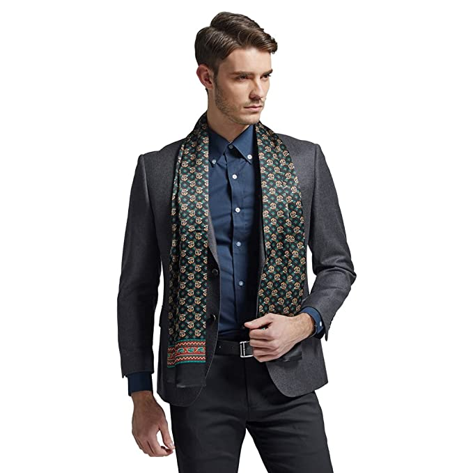 a78398508be66 Hip Mall Fashion 100% Silk Long Charmeuse Satin Men Silk Scarf Cravat