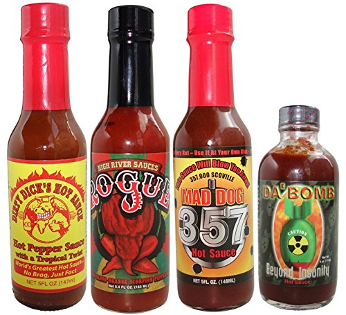 Hot Sauce Gift Set For Wings, Habanero, Chipotle, Scorpion Variety Sampler (Pack of 4)
