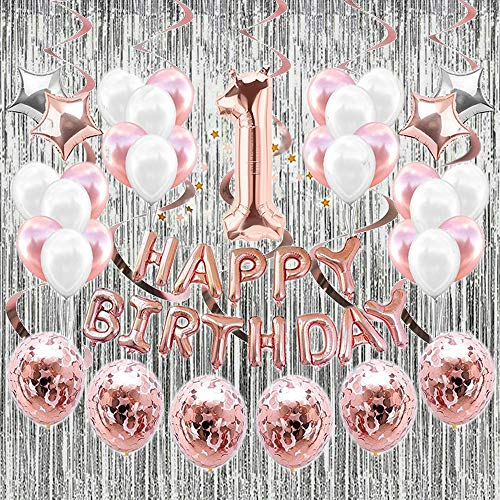1St Birthday Party Decoration Kit, Rose Gold Happy Birthday Balloon, Star Heart Foil Balloons, Latex Balloons, Confetti Balloons, Fringe Curtain and Hanging Swirls for Home Party Decor Photo Props