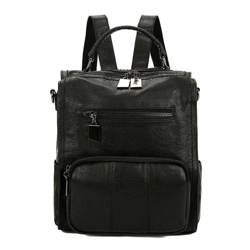 Mynos Women Backpack Purse Leather Handbag Bag Ladies Rucksack Travel Tote Shoulder Bag (Black)