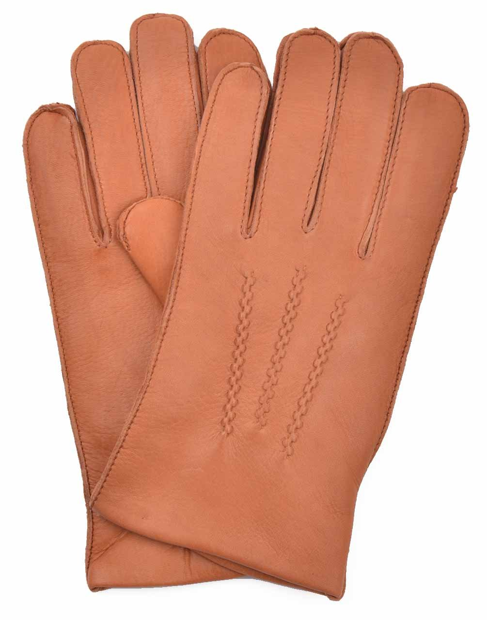 YISEVEN Men's Deerskin Leather Dress Gloves Fleece Lined Three Points Short Cuffs Genuine Luxury Soft Hand Warm wool Heated Fur Lining Winter Driving Motorcycle Work Xmas Gifts, Cognac 9.0''/M