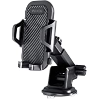 Car Phone Mount, WIKDJ Dashboard Windshield Phone Holder for Car with Dashboard Pad, Strong Stick Suck, One-Touch Design Compatible with iPhone, Galaxy, Google, Huawei