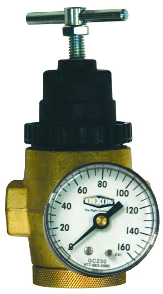 Dixon R43-201RG 1//4 Series-1 Water Regulator with Gauge and T-Handle Metal//Plastic