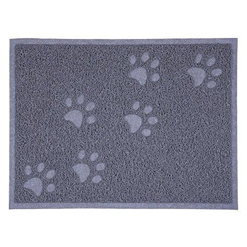 Cat Litter Box Mat,WONFAST Waterproof Elastic Square Style Placemat Anti-Slip Pet Food Bowl Mat Blanket for Litter Box Dog,PVC 30X40CM (Grey)