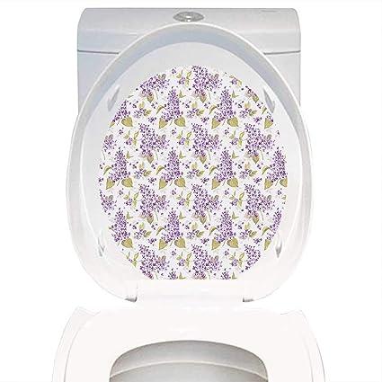 Amazoncom Qianhe Home Toilet Seat Decal Mauve Decor Retro Floral