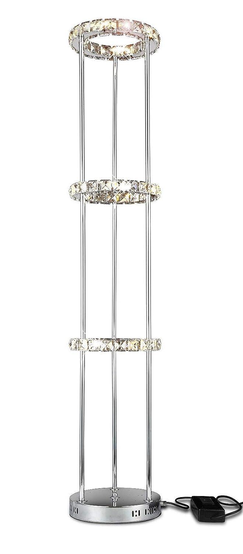 LED Kristall Stehleuchte Standlampe StehLampe Standleuchte Bodenlampe Wohnzimmer Beleuchtung Ringförmig 30x130cm 36W warm-weiß
