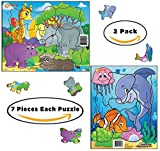 Jigsaw Puzzles Set Of 2 (7 pcs each) for Kid, Toddler Ages 2, 3, 4 Year Old. Underwater World and Zoo. Educational Toys For Boys Girls Preschool Children Creative Shapes Large Extra Durable Pieces