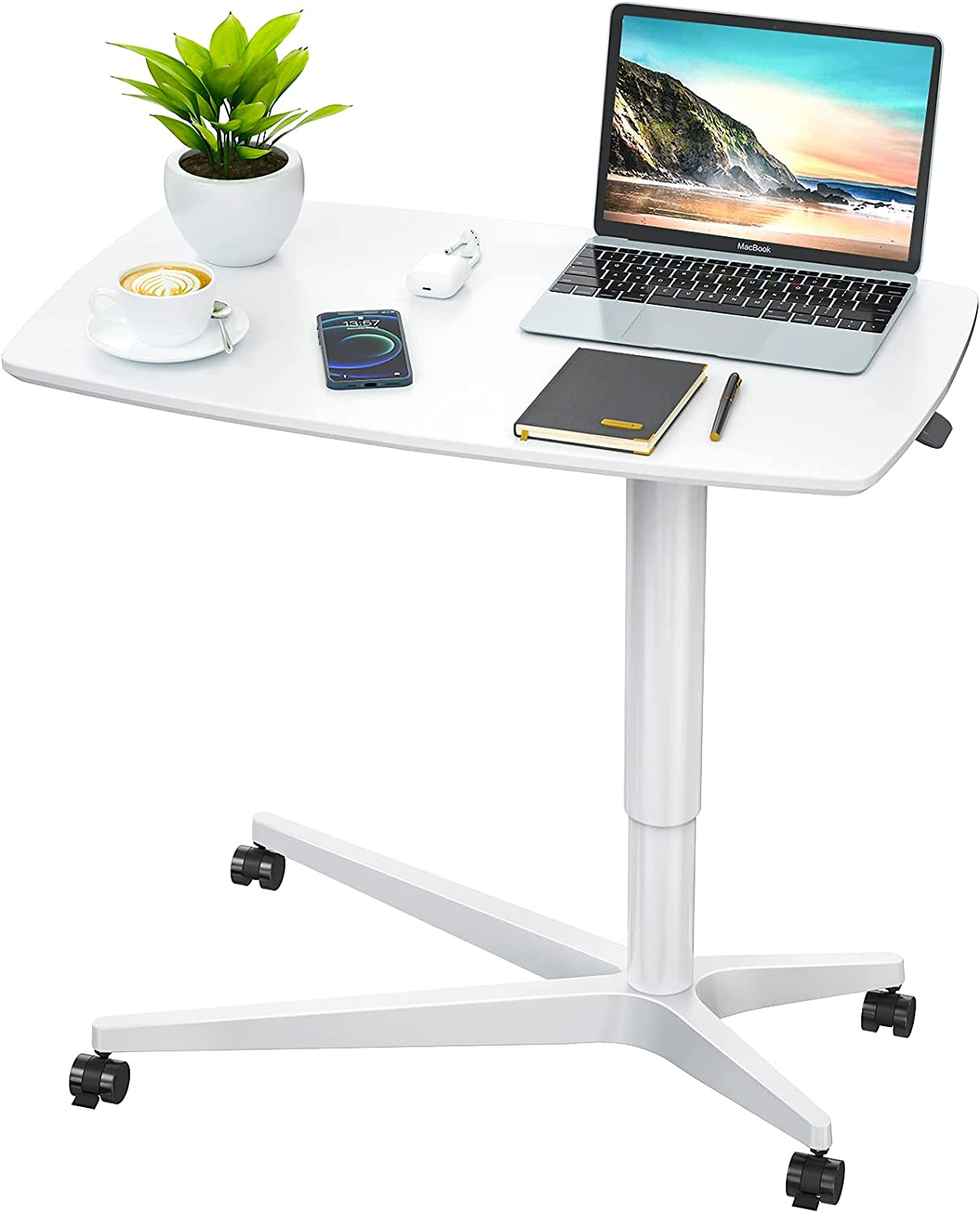 Mobile Standing Desk Height Adjustable Pneumatic Rolling Sit Stand Desk Converter Small Laptop Desk Cart Riser for Home Office, White by FURNINXS