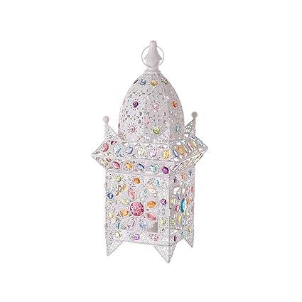 Lámpara de sobremesa de Metal Blanca árabe para salón Iris - LOLAhome
