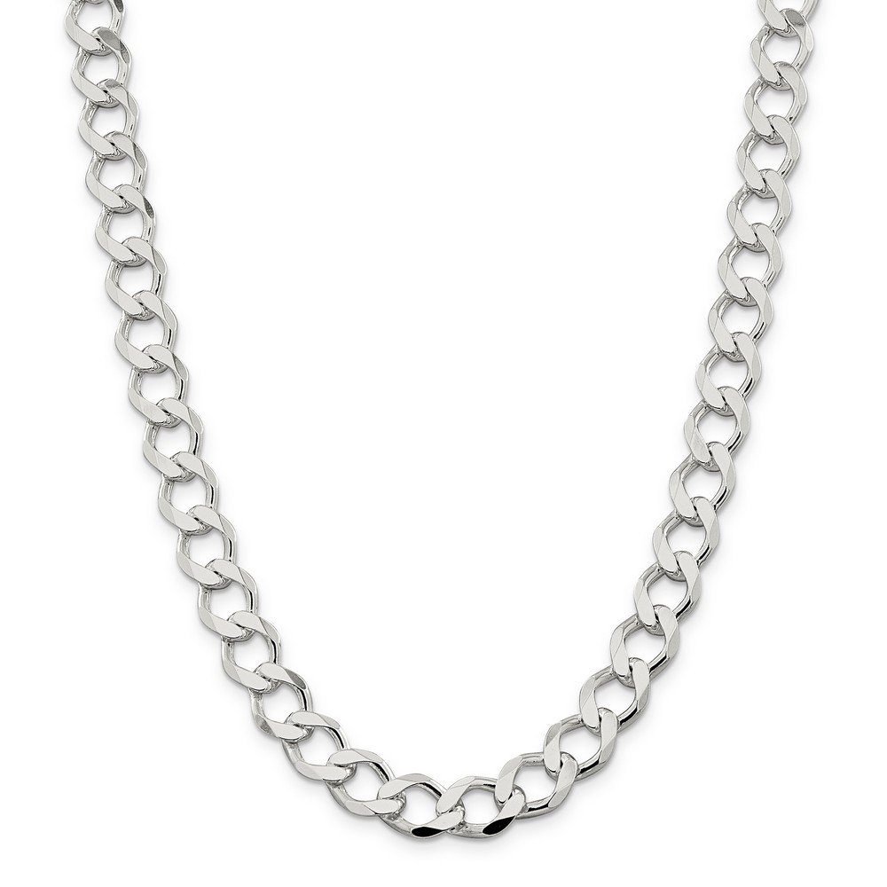 Sterling Silver 10.8mm Polished Flat Curb Chain Bracelet - 9 Inch