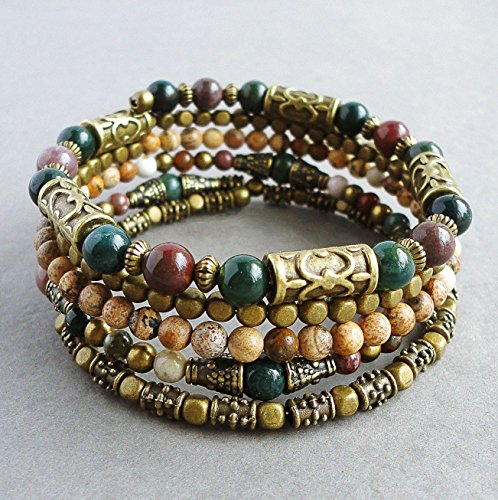 Around Hobo - Boho Wrap-around Memory Wire Multi Gemstone Bracelet, Bloodstone, Jasper, Brass, Handcrafted in USA