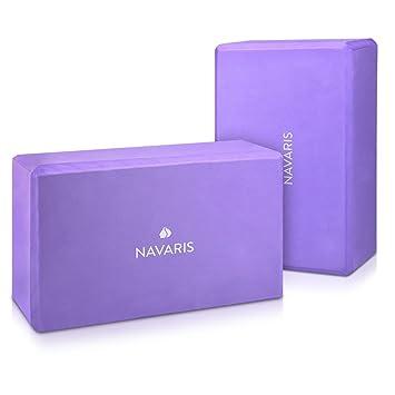Navaris Set 2en1 Bloque de Yoga - 2X Bloques de Yoga para Pilates - Accesorio para Ejercicios - Ladrillos de Yoga en Morado