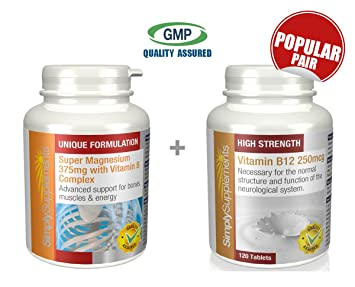 SimplySupplements Super Magnesium 375mg with Vitamin B Complex 120 tablets + Vitamin B12 250mcg 120 tablets