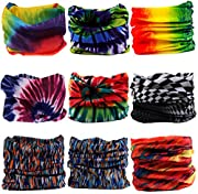 9PCS Bandanas Headband Scarf Headwrap Face Mask Neckwarmer Seamless & more 12-in-1 Multifunctional Stretchable for Music Festivals, Raves, Riding, Outdoors - Many Designs