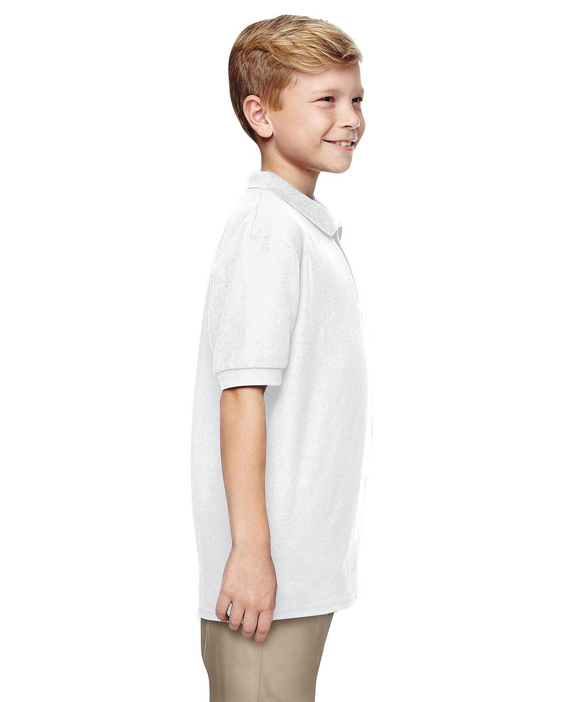 Gildan Boys DryBlend 6.3 oz G728B Double Piqu/é Sport Shirt -White -M-12PK