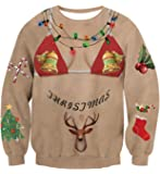 AIDEAONE Unisex Ugly Christmas Sweatshirts 3D Printed Pullover Long Sleeve Shirts