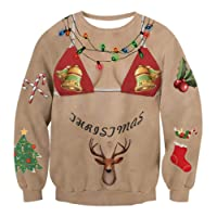 Idgreatim Unsiex Ugly Christmas Pullover Sweatshirts 3D Print Novelty Xmas Elf Long Sleeve Sweater