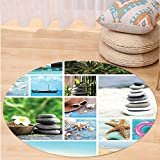 VROSELV Custom carpetApartment Decor Collage of Spa Composition with Tropical Sandy Beach Ocean and Rock Views Relax Rest Image Bedroom Living Room Dorm Decor Multi Round 72 inches