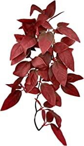 Fuongee Artificial Reptile Plants Decor Suction Cup Hanging Silk Plants Terrarium Plants, Small Size, 12 inches, Red