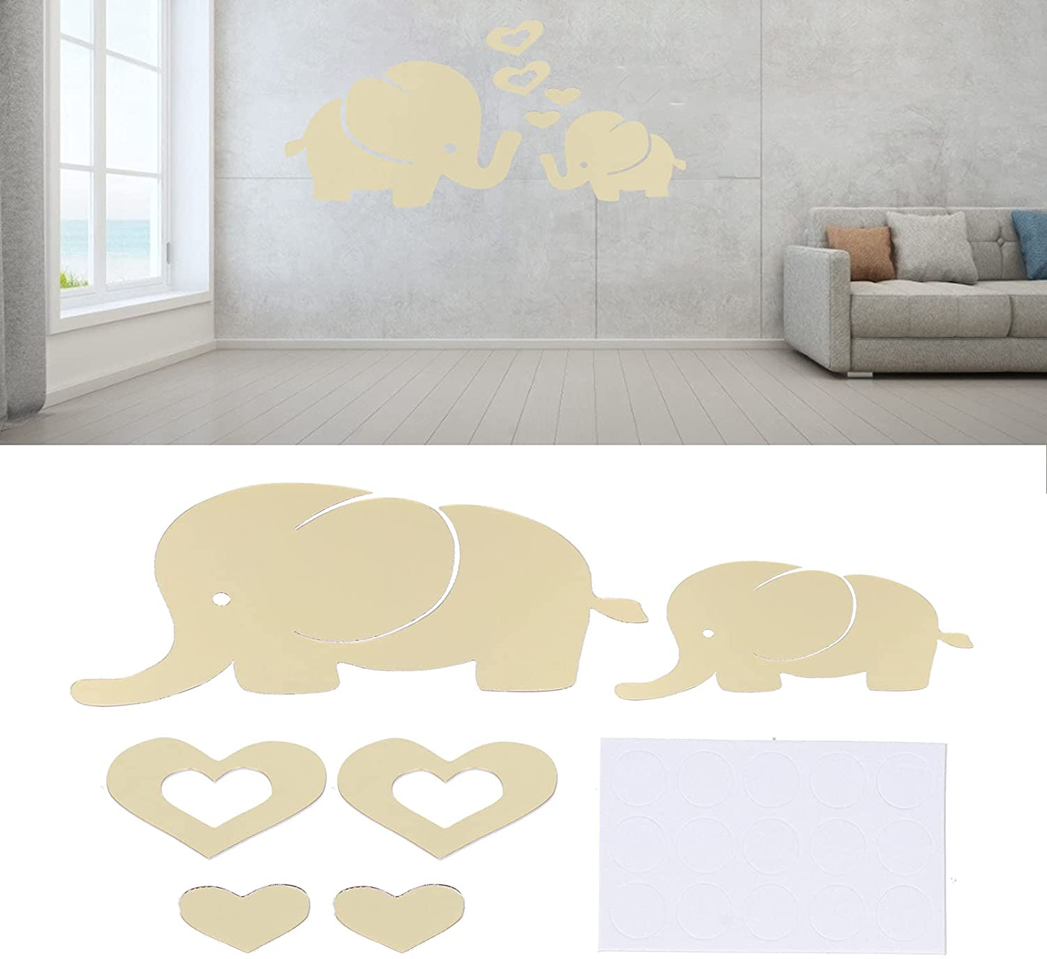 Elephant Family Wall Decal, Large Innovative Cartoon DIY Removable Hearts Kids Room Wall Stickers Art Beautiful Cute Mirror Waterproof Baby Nursery Wall Decor for Living Room, Kitchen(Golden)