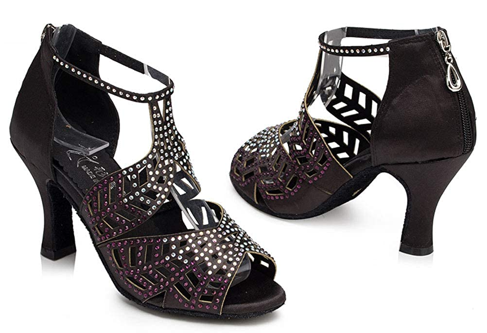 Womens Rhinestone T-Bar Latin Dance Shoes Character Salsa Tango ChaCha Prom0015 Black US Size8 3IN