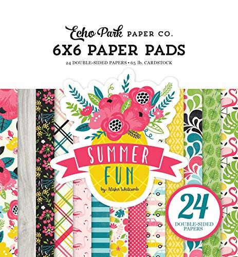 Echo Park Paper Company SF125023 Summer Fun 6x6 Paper Pad Fun Scrapbooking Paper