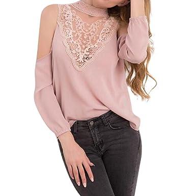 36fe1a61ab47c TOOPOOT Women Lace Panel Chiffon Off-Shoulder Elegant Long Sleeve ...