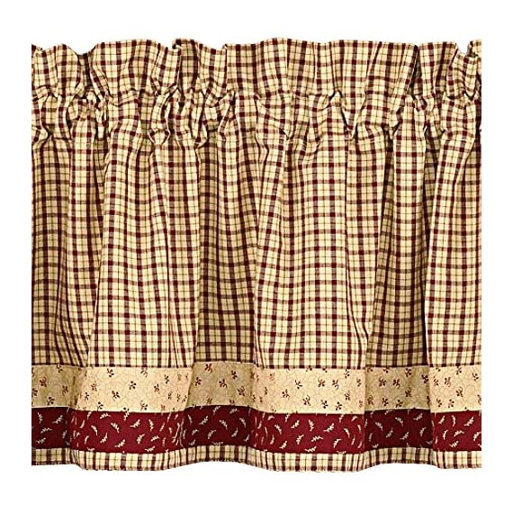 "Apple Jack Country Valance, 72 Inch X 14 Inch - Classic look for window top Valance has a 1.5"" header and 2"" rod pocket Machine wash cold, delicate cycle, line dry - living-room-soft-furnishings, living-room, draperies-curtains-shades - 61ot890AlrL. SS570  -"