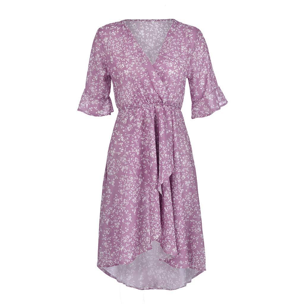 Women's Purple Flare Ruffle Short Sleeve High Split Irregular Hem V Neck Maxi Dress by ★ZFK_DRESS (Image #7)