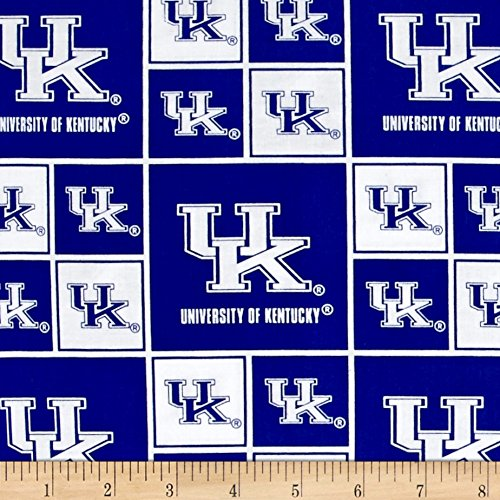 - Sykel Enterprises Collegiate Cotton Broadcloth University of Kentucky Wildcats Blocks Fabric by The Yard
