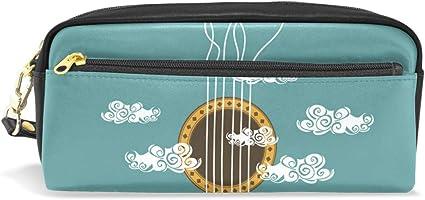 Estuche con cremallera grande para maquillaje con ilustración musical con diseño de guitarra, estuche para lápices para niños y niñas: Amazon.es: Oficina y papelería