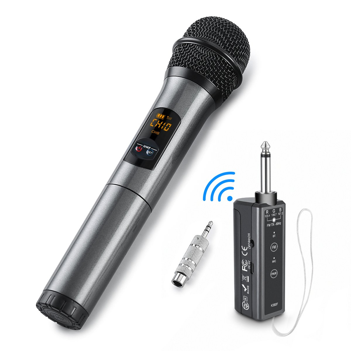 UHF Bluetooth Wireless Microphone, ELEGIANT Handheld Dynamic Microphone Wireless Mic System Karaoke FM Receiver Professional Singing Machine for Home Party Speech Stage Show Church Wedding -K380