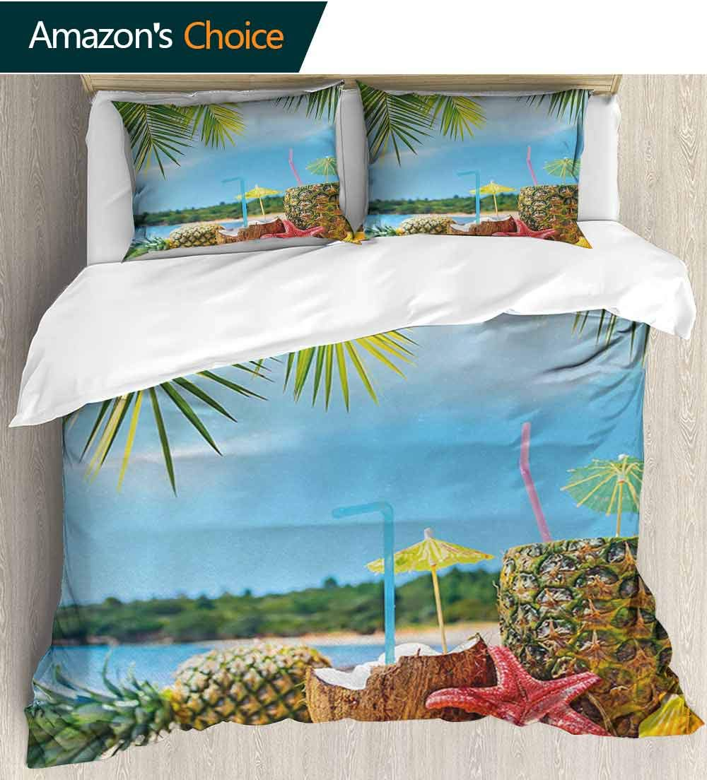 Tropical Bedding Sets Duvet Cover Set,Fresh Summer Fruits Coconut and Pineapple Drinks at Exotic Beach Palm Trees Bedspreads Beach Theme Quilt Cover Children Comforter Cover(68''W x 85''L)