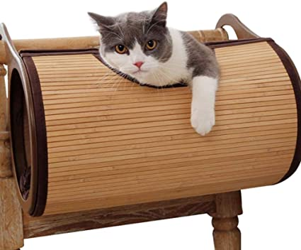 Cat Tunnel Pet Tube Play Toy Indoor Pet Bed Home Natural Bamboo Material Hanging Wall Cat House Can Be Hung From The Radiator For Cat Puppy Kitty Kitten Rabbit Sports Outdoors