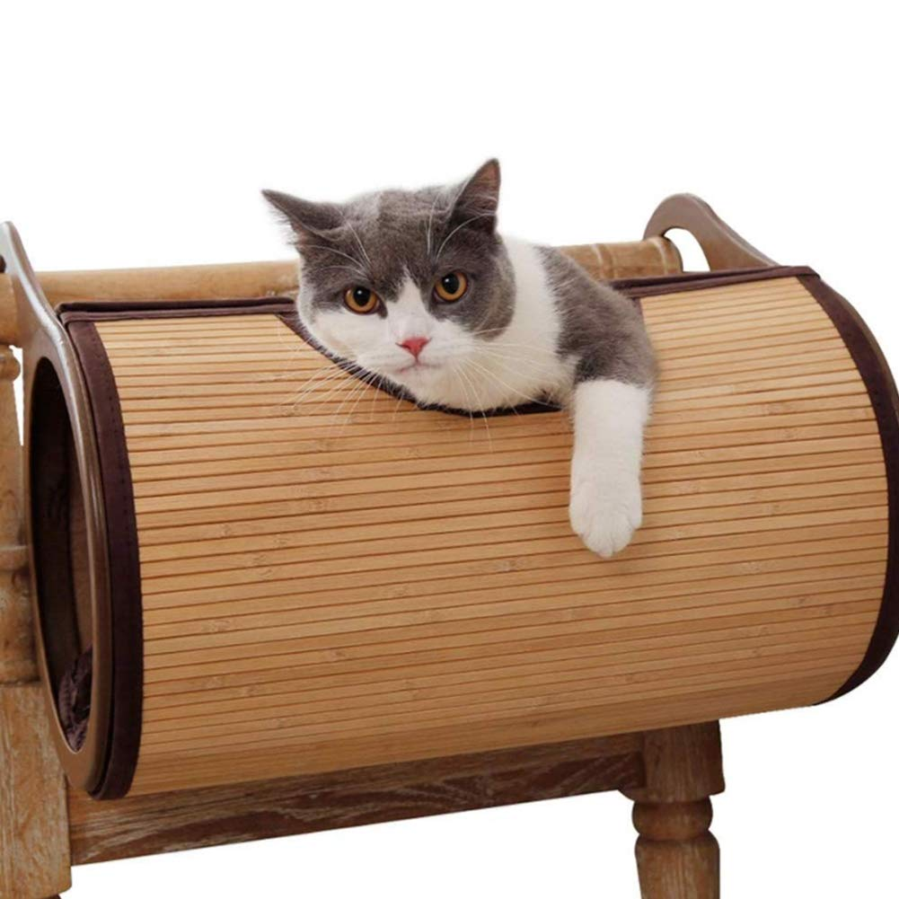 Cat Tunnel Pet Tube Play Toy Indoor,Pet Bed Home,Natural Bamboo Material,Hanging Wall Cat House,Can Be Hung from The Radiator for Cat, Puppy, Kitty, Kitten, Rabbit by PJDDP