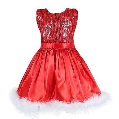 d06bfe3840902 Magike Black Friday Cadeau fête Noël Robe Noël Enfant Bébé Fille pour  Nouveau-né Rouge