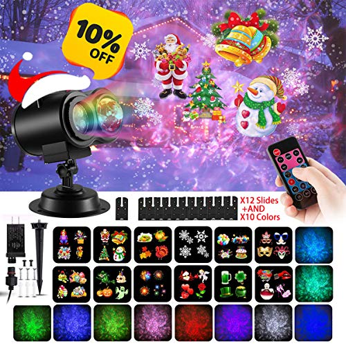(Christmas Projector Light Water Wave 2 in 1 LED Party Light with 12 Replaceable Patterns Slides Outdoor and Indoor Waterproof Decorative Lighting for Xmas Home Parties Halloween Birthday Yard)