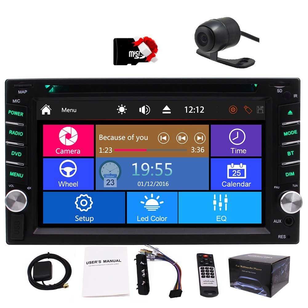 Car Autoradio 2din GPS SAT Navigation Multi-Touchscreen Car DVD Player in-Dash Audio Car GPS Stero AM/FM Radio Bluetooth 8GB Map Card Remote Control Backup Camera Head Unit