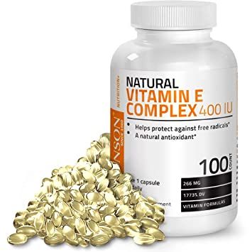 Natural Vitamin E Complex Supplement 400 IU (80% D-Alpha Tocopherol),  Natural Antioxidant Helps