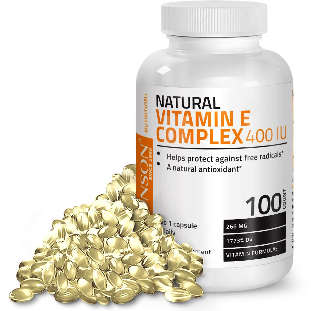 Natural Vitamin E Complex Supplement 400 I.U. (80% D-Alpha Tocopherol), Natural Antioxidant Helps Protects Against Free Radicals, 100 Softgels