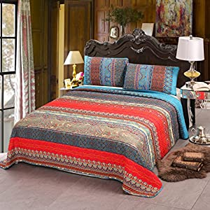 100% Cotton 3-Piece Paisley Boho Quilt Set, Reversible& Decorative - Full/Queen by Exclusivo Mezcla